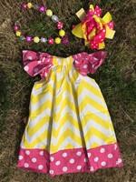 hot pink polka dot yellow chevron pillow dress girl dress peasant dress with headband and necklace