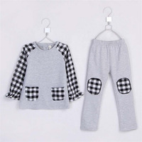 2015 spring baby boys & girls plaid patchwork clothing set kids casual clothing boys and girls cotton two-piece suit A1657