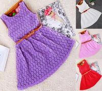 2015 Fashion NEW Baby Girls Dress Lace Dress Children Summer Dress Bowknot Belt 4Colors Girl's Clothes Vestidos Meninas
