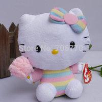"NWT 2014 Sanrio Ty original Hello Kitty in ~spun sugar ~ 6""~ STYLISH Stuffed Dolls Plush toy FREE SHIPPING IN HAND!"