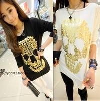 Free Shipping 2015 New Fashion Spring Summer Brand Women's T-shirt Long-sleeved Chiffon Fight Classic Skull Tee Shirts