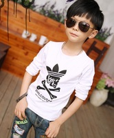 fashion spring and autumn male child personality basic white shirt ploughboys skull long-sleeve T-shirt children's clothing top