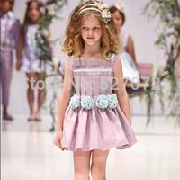 2015New summer brand designer girls dress with appliques.European sleevesless purple vest  kids dress.children clothes.