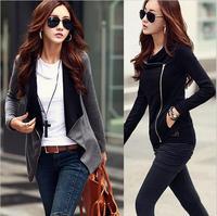 Women's Korean Causal Patchwork Side Zipper jackets 2015 New Fashion Cotton Slim Turn-Down Collar roupas femininas  171