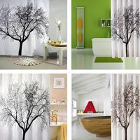 New Big Black Scenery Tree Design Bathroom Waterproof Fabric Shower Curtain