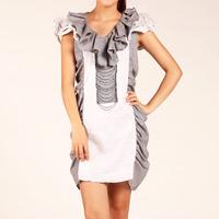 2015 spring women's fashion brand dress v-neck dress cotton