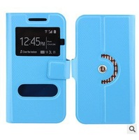new arrival free shipping quality flip leather phone case for Alcatel One Touch Hero 2+ case with open window 1+H