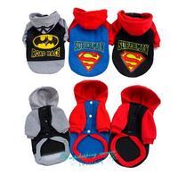 Fashion Pet Dog Clothes Teddy Dress Superman Batman Hooded Sweater Dog Supplies Dog Hoodies Free Shipping