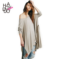 2015 spring and summer new arrival fashion brief sexy cloak t-shirt placketing haoduoyi basic shirt