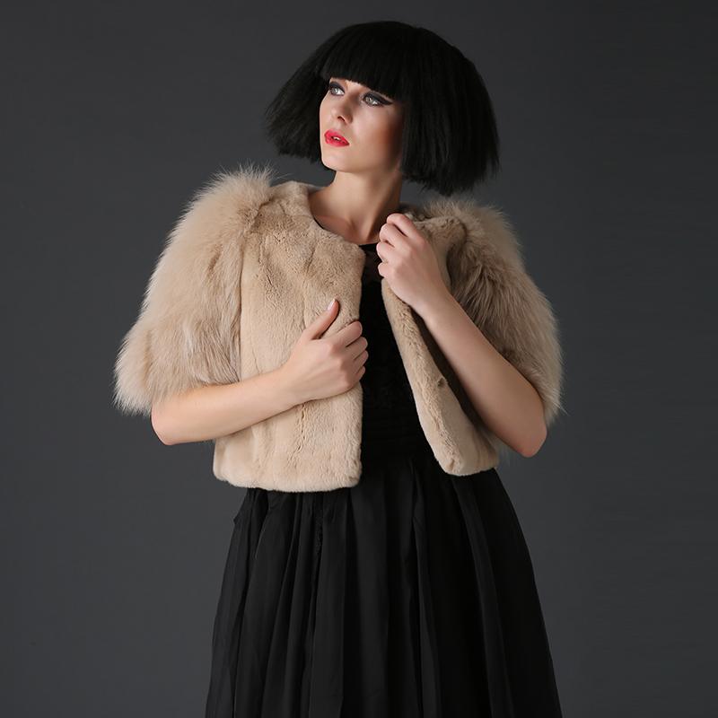 Women lovely genuine rex rabbit fur short coat white jacket(China (Mainland))