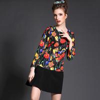 Black Tulip Flower Print Dress Women Plus Size L-5XL Long Sleeve Patchwork 2015 Spring New Vestidos #BL-Y1518