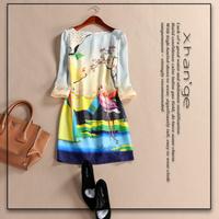 Free shipping! 2015 spring romantic print o-neck three quarter sleeve belt slim one-piece dress c255208