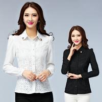 2015 new spring slim chiffon lace shirt long-sleeve thermal shirt female