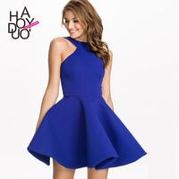 2015 spring and summer elegant halter-neck slim strapless one-piece dress slim waist puff skirt haoduoyi stereo