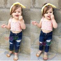 summer girl's clothing set euro fashion children's clothing 100%cotton shirts +denim jeans baby girl denim set