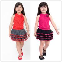 Free shipping -5sets/lot -2pcs baby clothing suit -Flower girls vest + tutu skirt cake - Girls leisure suit