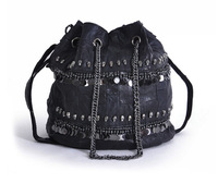 2015 new arrive women bucket bag skull paillette genuine leather black women messenger casual bag
