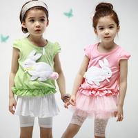 Free shipping 2015 summer new Cute Rabbit T-shirt shirt girls sleeveless T-shirt girls sleeveless vest