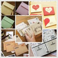 2014 Limited Real Mixed Color Paper Mini Envelope Love Vintage Membership Card Small Greeting Square Storage 100 Pcs Lot