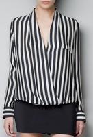 Fashion Striped Printed Women Blouses Spring Long Sleeve Women Chiffon Shirts Casual Women Pullovers Tops  HR004