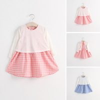 2015 Spring Korean Style children's clothing 5pcs/lot wholesale baby girls faux two-piece plaid dresses 9869