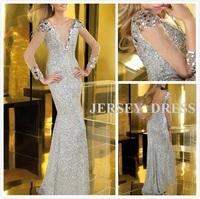 The new 2015 sequins lace long sleeve fishtail dress ms long deep v-neck wedding evening dress dress