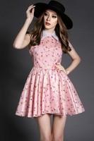 Free shipping 2015 spring and summer fashion organza print peter pan collar slim cute dress t2820 casual dress wholesale va2042