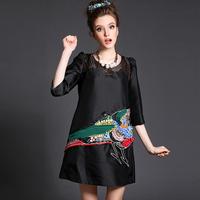 Plus Size L-5XL Women Dress Black Beading Embellished Pattern Mesh Patchwork Puffed 2015 Spring Vestidos #BL-Y1569
