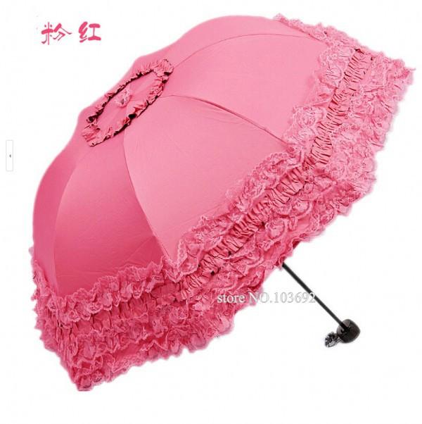 New Three folding anti UV women renda paraguas plegable girls lace sunny/rain paraguas children lovely umbrella paraguas(China (Mainland))