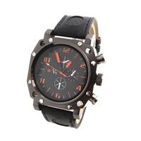Wholesale Big Dial Face Leather Strape Men's Sports Watches V6 Brand Quartz Analog Watch Wristwatches Men V608