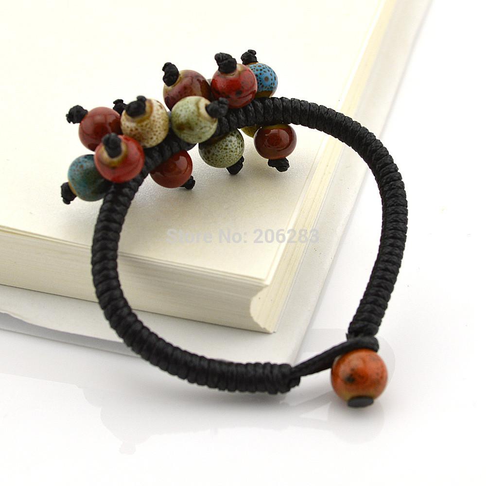 Jingdezhen ceramic bracelet accessories jewelry popular honey gift coloured glaze bracelet 3pcs