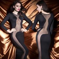 2015 New Spring Club Sexy Dress And Nude Torso Hugging Long Sleeve Dress Bag Hip X-ray Socialite Nobility Dress