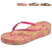 Wholesale 2014 Summer New Women's Sandals Ethnic Floral Glitter Sope Flip Flops Beach Shoes for Women