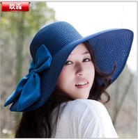 Stylish 2015 Summer Floppy Anti UV Beach Sun hat women fashion lady straw caps with big bowDYW-032