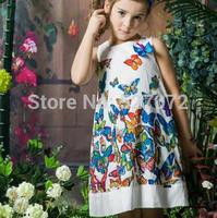 Super beautiful~2015 summer brand designer girls dress with butterfly,European girls vest floral dress .kids time