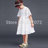 2015New fashion brand designer girls dress.A-line children white lace dress with short sleeve,princess dresses,kids clothes