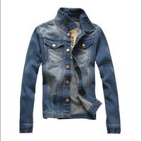 2015 washed denim jacket coat fashionable new torn denim jacket for men