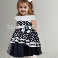 High end!2015 summer brand girls dress with appliques,European designer girls DOT dress .kids party dress