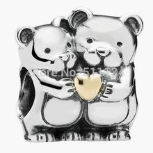 925 Sterling Silver Bead Fit Pandora Bracelet Authentic Jewelry European Charm 14K Gold Heart Bear Hug