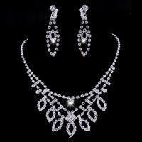 2015New Designer Wedding Accessories Rhinestone Alloy Jewelry Set Square Leaf Drop Shinning Three Layer Necklace /Earrings Women