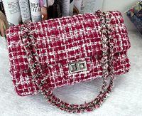 The New Wine Red Plaid Wool chain bag, high-grade composite Tweed Fabric handbags, ladies bag