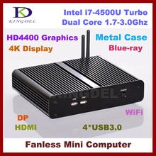 8G RAM+32G SSD+750G HDD,Fanless core i7 4500U embedded computer,Max 3.0Ghz,HTPC,4K DP,Intel HD4400 Graphics,300M WIFI Windows 7(China (Mainland))