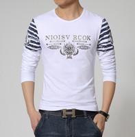 Hot Sale 2015 New Arrival Spring Long-SleeveT-shirt Mens Fashion Print Korean Crewneck T-shirt Trend Mens Wear 5 Colors M-XXXL