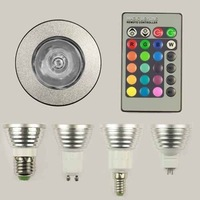 NEW E27/E14/GU10/MR16 3W Remote Control 16 Color Flash RGB LED Lamp Light Bulb