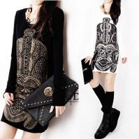 Basic shirt female medium-long 2015 autumn and winter plus size clothing loose long-sleeve T-shirt