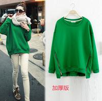 2015 plus size clothing loose o-neck plus velvet thickening cap pullover sweatshirt female autumn and winter basic shirt