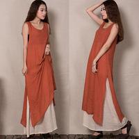 2015 summer women new cotton silk dress sleeveless vest cotton dress original theatrical
