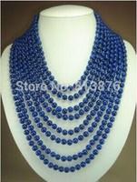 8 rows 6mm Beautiful! 2015 new blue lapis lazuli 2015 new fashion free shipping beads jasper necklace W0433