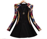 The new autumn and winter 2015 fashion ladies vestidos patchwork pu leather stitching round neck woolen one-piece women jacket
