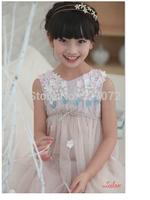 High end!Super beautiful2015summer European brand designer girls dress with appliques.kids sleeveless party/evening lace dresses